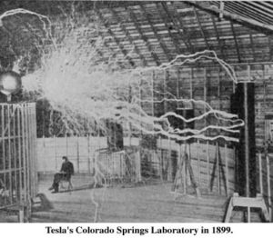 Tesla and his original Tesla Coil
